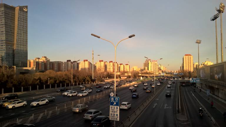 Traffic on a Beijing highway on a relatively clear day