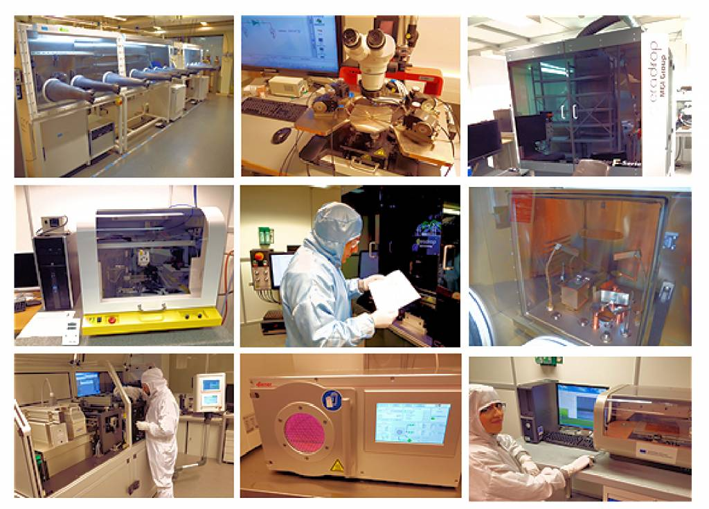 Photo collage of different laboratory equipment in LFE's laboratory and people using them