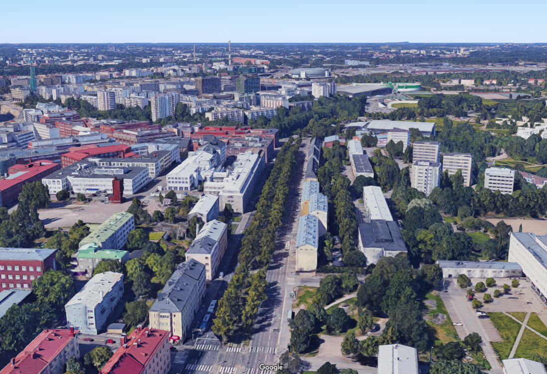 Measurement devices were installed in a container located at the curbside of this highly trafficked street canyon in Helsinki. ©Google