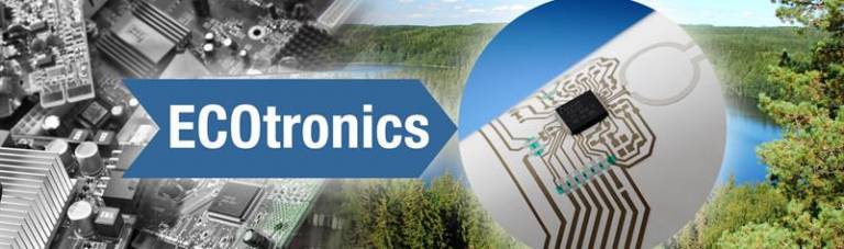 Ecotronics text inside an arrow pointing towards electric circuit