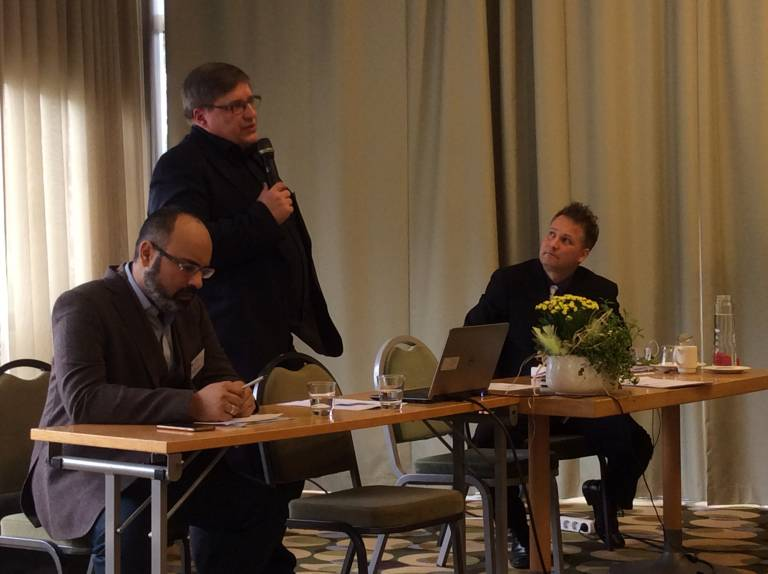 Picture: Leena Wilkman. Global sociology by professors Ali Qadir and Risto Heiskala. Mikko Perkiö as a panel chair.