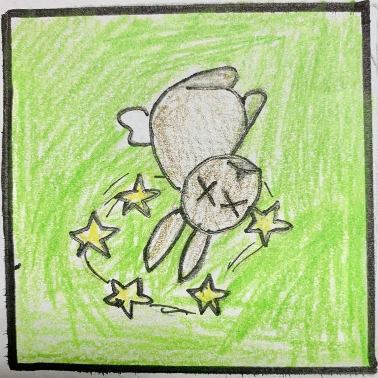 Näyte 2.luokkalaisen laatimasta sarjakuvasta