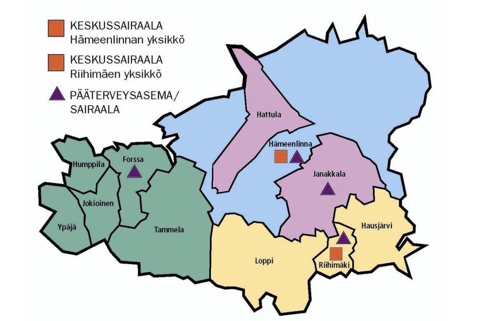 Kanta-Hämeen sairaanhoitopiirin kartta
