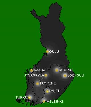 Tutkimusyhteistyö Suomessa kartta