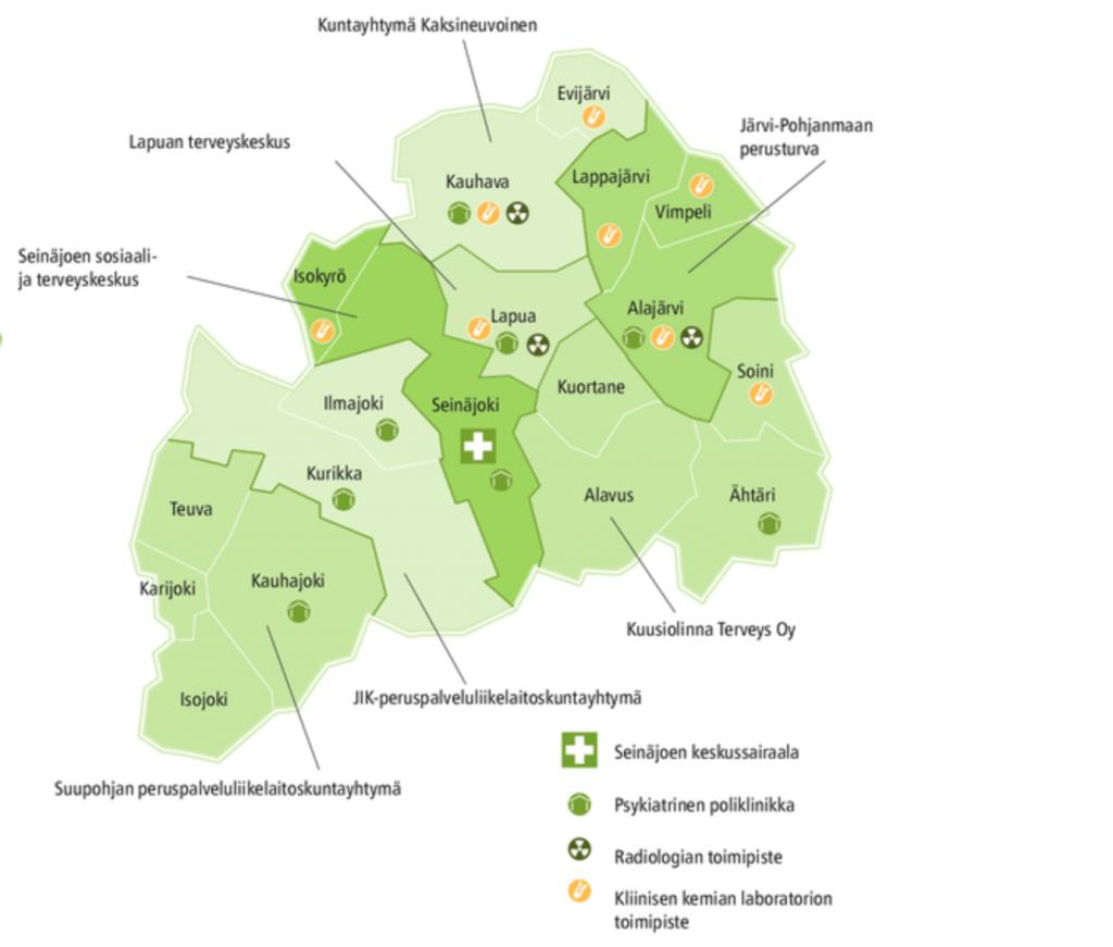 Etelä-Pohjanmaan sairaanhoitopiirin kartta