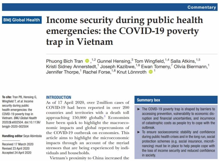 Download PDFPDF Commentary Income security during public health emergencies: the COVID-19 poverty trap in Vietnam
