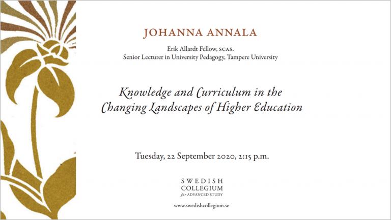 Johanna Annala lecture at SCAS