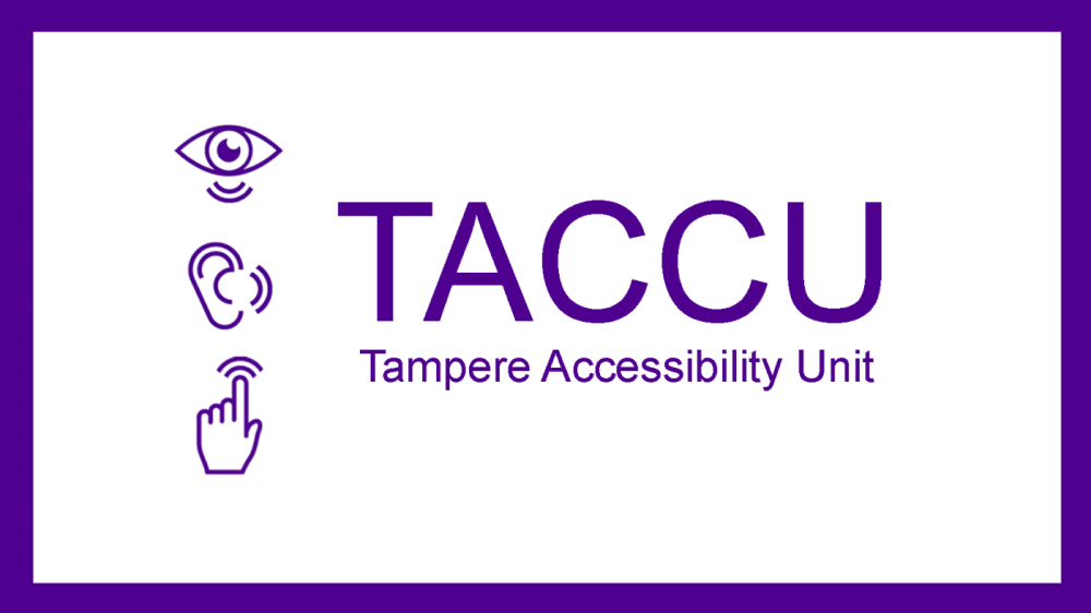 TACCU logo: Purple line drawings of an eye, an ear and a hand on a white background.