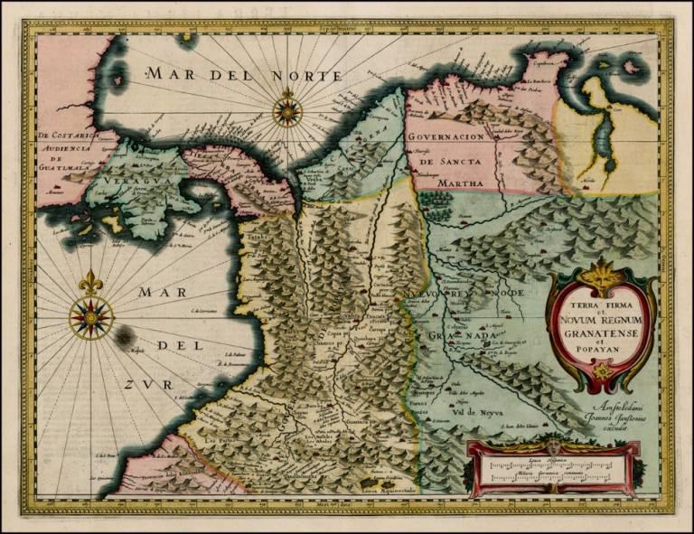 Kuvassa on historiallinen kartta Popayánista, Uudesta Granadasta sekä Tierra Firmestä, nykyisten Kolumbian ja Panaman alueilta. Tausta on kellertävä, alueen rajat on vahvat ja kartan sisällä alueet on merkitty pastellivärein.