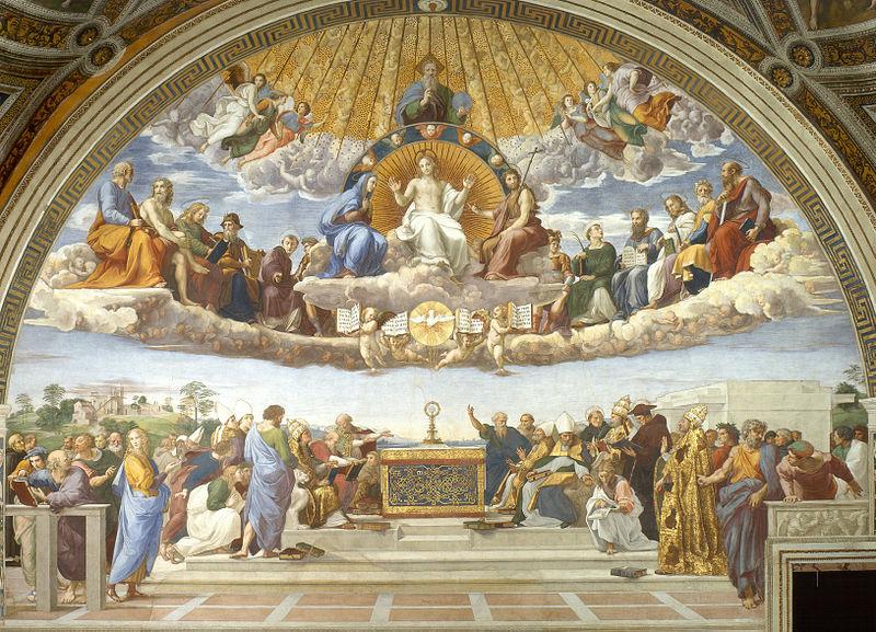 Maalauksessa on kuvattu alttari ja ihmisjoukko sen molemmin puolin. Alttarin päällä on monstranssi eli koristeellinen astia, jota käytetään ehtoollisleivän kantamiseen. Alttarin ympärillä olevat henkilöt ovat paaveja, piispoja ja teologeja. He keskustelevat, lukevat kirjoja ja osoittavat monstranssia. Alttarin yläpuolella pilviverhon päällä istuu Jeesus valtaistuimella. Hänen vasemmalla puolella on neitsyt Maria ja oikealla puolella Johannes Kastaja. Heidän ympärillään on lisäksi 12 henkilön ryhmä, joka koostuu Uuden ja Vanhan testamentin hahmoista sekä pyhimyksistä. Jeesuksen yläpuolella on jumala ja enkeleitä. Jeesuksen jalkojen juuressa, taivaallisen ja maallisen yhteisön välissä, on valkoinen kyyhkynen, joka kuvastaa Pyhää henkeä.